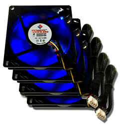 4 pcs Power Cooler by Evercool 80mm x 80mm x 25mm 4 Pin Blue Led PWM Fans 4 PACK $29.99