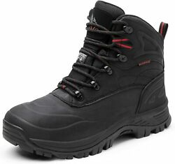 NORTIV 8 Men Winter Snow Boots Outdoor Waterproof Ankle Leather Hiking Work Shoe $42.29