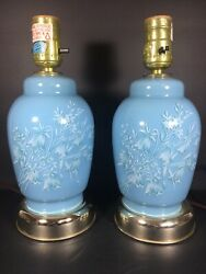 Pair Of Blue Vintage Table Lamps Painted Flower Design $74.99