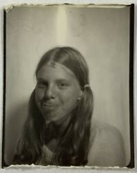 Tongue Out Pigtails Girl In The PHOTOBOOTH Vintage Photo Snapshot