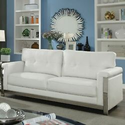 Furniture of America Nier Modern Faux Leather Tufted Grey NA