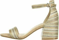 Kenneth Cole New York Women's Hannon Block Heeled Sandal with Natural Size 6.5