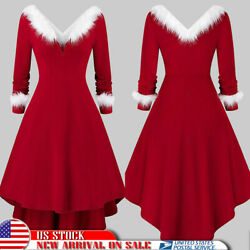 Sexy Mrs Santa Claus Outfit Xmas Party Costume Lady V Neck Christmas Fancy Dress