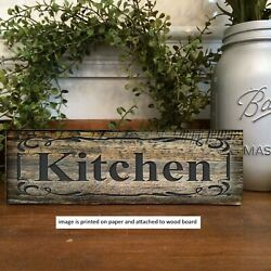 Kitchen Sign Rustic Farmhouse Style Shelf Sitter Rustic Decor 8x3x1 8quot; $14.99