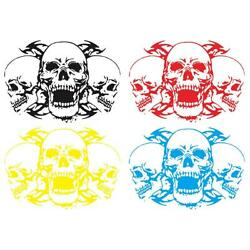H3E# 39x60cm Triple Skull Head Car Styling Sticker Graphics Decal for Car Hoods