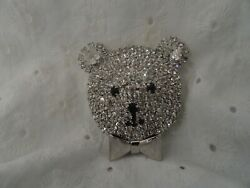 VINTAGE BUTLER AND WILSON B&W PRONG SET RHINESTONE TEDDY BEAR PIN WITH BOW
