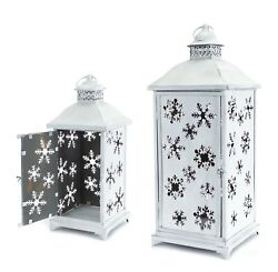White Lanterns with Removable Snowflake Panels Set of 2 $89.99