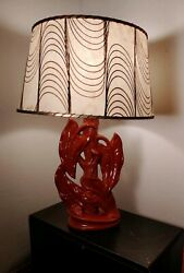 Vintage Mid Century Modern Art Pottery Ceramic Table Lamp Hawaiian Leafs