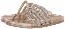 Kenneth Cole Reaction Womens 7 Slim Shimmer Fabric Open Toe Soft Gold Size 6.0