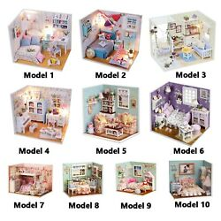 DIY Doll House with LED Lights Wooden Miniature Furniture Girls Birthday Gifts