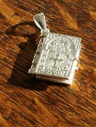 925 Sterling Silver Lord's Prayer Holy Bible Open Pages Pendant