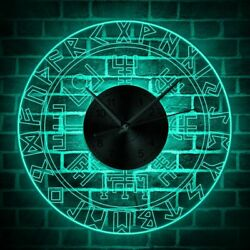 Electric Wall Clocks LED Illuminated Viking Compass Vintage Style Home Watch New $72.49