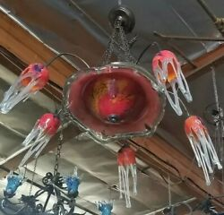 FLOWING GLASS CHANDELIER RED HAND CRAFTED ART DECO  STYLE  ART NOUVEAU