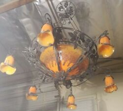 Wrought Iron Chandelier With Yellow Multi Blown Glass Shades Art Deco Hand Made