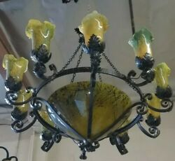 WROUGHT IRON CHANDELIER  WITH MULTICOLOR BLOWN GLASS SHADES HEAVY DUTY ART DECO