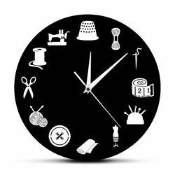 Wall Clock Home Watch Sewing Tools Patterned Quartz Tailor Shop Craft Decoration $31.87