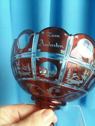 Antique Biedermeier Footed Red Glass Bowl Overlay Cut to Clear quot;Zum Andenkenquot; $465.00