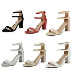DREAM PAIRS Women#x27;s Open Toe Low Chunky Heel Sandals Double Strap Party Shoes $18.99
