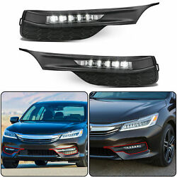 for 2016 2017 Honda Accord Sedan 4Dr LED Fog Lights Bumper Lamps+Wiring+Switch $64.50