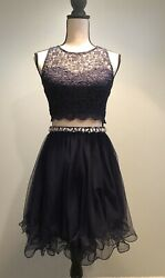 My Michelle Skirt Top Combo Dress Navy Sparkle Lace Top Tulle Lined Skirt Size 3 $24.99