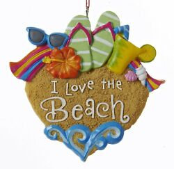 Kurt Adler I Love the Beach Heart Christmas Holiday Ornament Resin
