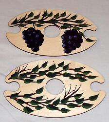 Handpainted Wooden Wine Butler for 2 Wine Glasses Holiday Berry or Grape Design