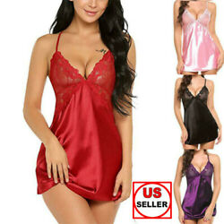 Women Lingerie Underwear Lace Robe Dress Babydoll Nightdress Nightgown Sleepwear $9.49