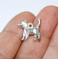 Dog Charms Silver Plated two sided 3D 4 charms in one lot $5.43