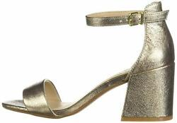 Kenneth Cole New York Women's Hannon Block Heeled Sandal Champagne Size 6.5 nV