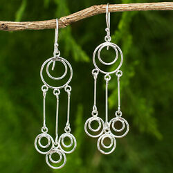 925 Sterling Silver Chandelier Earrings for Women Crafted by Hand Concentric $20.99