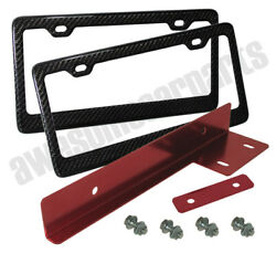 Red Jdm Front Bumper Relocator Bracket Adapter + Cf License Plate Frame Tag Trim