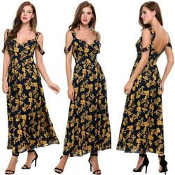 New Women Casual V-Neck Sleeveless Floral Prints Backless Pleated Hem IL1 02