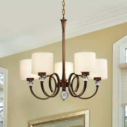 Chandelier new never used. Drum shades. Dark copper bronze color metal. $175.00