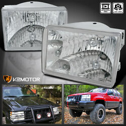 For 93-98 Jeep Grand Cherokee Clear Headlights Lamps Left+Right Replacement Pair $60.38
