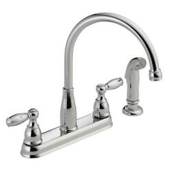 Delta 21988LF Foundations 2-Handle Kitchen Faucet w Side Sprayer Chrome Finish