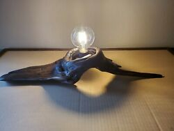 New Unique Handcrafted Natural Driftwood Desk Table Lamp With Edison Bulb $75.00