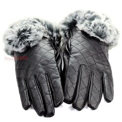 New Womens Winter Wrist Dressy Gloves Leather Thermal Lining Rabbit Fur Cuff $9.99