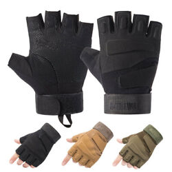 Tactical Gloves Men#x27;s Military SWAT Protective Armor Airsoft Shooting Fingerless $10.99