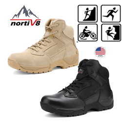 NORTIV 8 Men#x27;s Zip Military Tactical Boots Motorcycle Combat Ankle Hiking Boots $41.35