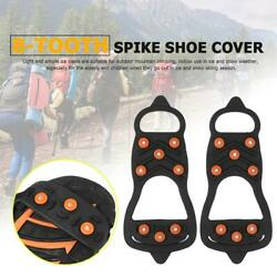 8 Studs Anti slip Ice Shoe Spiked Grips Cleat Crampons Climbing Shoes Cover $7.87