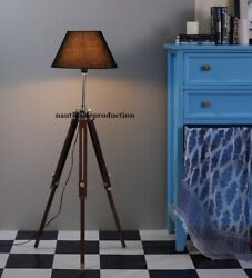Nautical Handmade Antique Floor Shade Lamp Brown Wooden Tripod Stand Home Decor $82.00