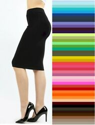 Zenana Pencil Knee Skirt Bodycon High Waist Premium Stretch Cotton S M L XL USA $9.95