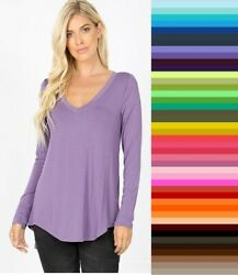 Womens V Neck Relaxed Long Sleeve Hi Lo Zenana T Shirt Top S XL Plus Size 1X 3X $13.95