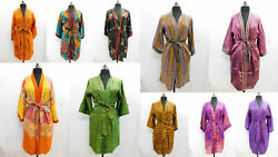 100 Pc Indian Vintage Silk Sari Printed Kimono Robes Dressing Gowns Bridesmaids