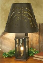 FARMHOUSE MILK HOUSE TIN TABLE LAMP amp; WILLOW SHADE 4 WAY LARGE RUSTIC BROWN $132.95
