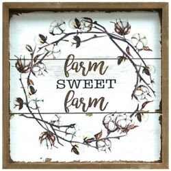 Farmhouse COTTON WREATH Print Picture Vintage Style Rustic Decor Wood Framed $15.98