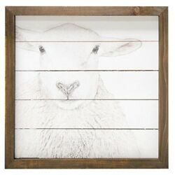 Farmhouse SHEEP Sketched Picture Faded Vintage Style Rustic Wall Decor Framed $13.94
