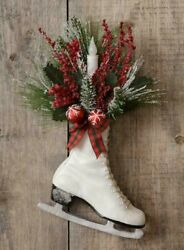 Farmhouse WHITE ICE SKATE Christmas Pine Door Hanging with TIMER TAPER CANDLE $36.90