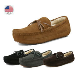 Men#x27;s Sheepskin insole Moccasin Toe Suede leather Slippers Slip On Shoes US Size $27.89