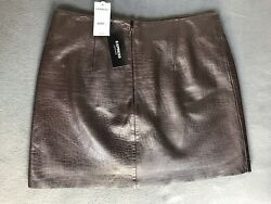 NWT New With Tags Express 100% Genuine Leather Brown Skirt Size 7 8 $26.99